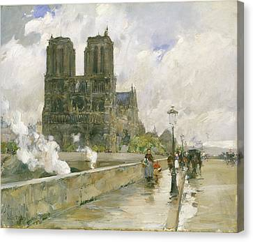 Notre Dame Cathedral - Paris Canvas Print by Childe Hassam