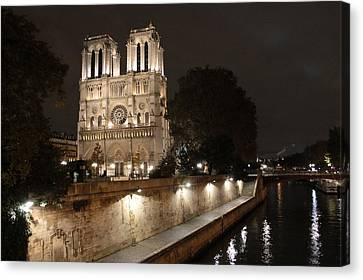 Canvas Print featuring the photograph Notre Dame Cathedral From Petit Pont by Christopher Kirby