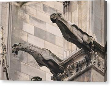 Canvas Print featuring the photograph Notre Dame Cathedral Gargoyles by Christopher Kirby