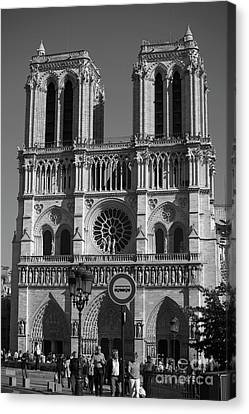 Medieval Temple Canvas Print - Notre Dame Cathedral In Black And White by Patricia Hofmeester