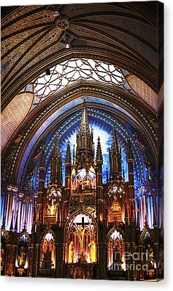 Crucifix Art Canvas Print - Notre Dame Ceiling by John Rizzuto