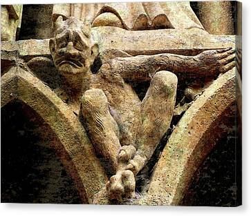 Notre Dame Gargoyle - Paris Canvas Print by Jen White