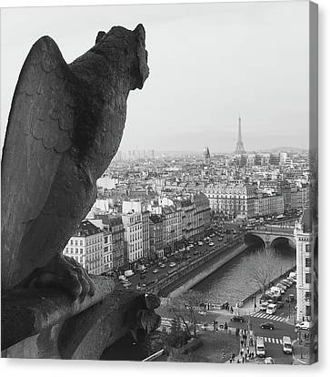 Notre Dame Gargoyle Canvas Print by Victoria Lakes