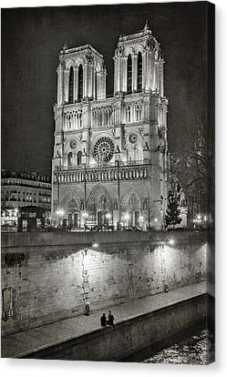Gothic Canvas Print - Notre Dame Night Bw by Joan Carroll