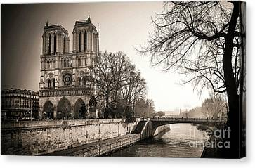 Notre Dame Of Paris And The Quays Of The Seine. Paris. France. City Canvas Print