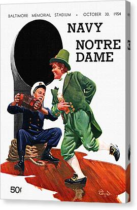 Football Canvas Print - Notre Dame V Navy 1954 Vintage Program by John Farr