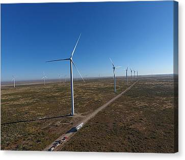 Construction Canvas Print - Notrees Wind Farm by Chris Martin