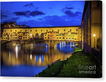 Tuscan Sunset Canvas Print - Notte A Ponte Vecchio by Inge Johnsson