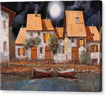 The Houses Canvas Print - Notte Di Luna Piena by Guido Borelli