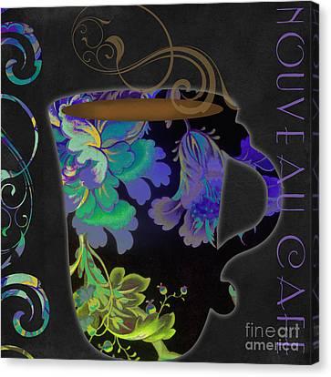 Textile Art Canvas Print - Nouveau Cafe Cool by Mindy Sommers