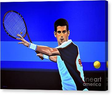 Slam Canvas Print - Novak Djokovic by Paul Meijering