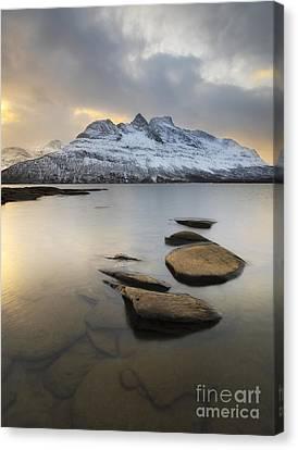 Novatinden Mountain And Skoddeberg Lake Canvas Print by Arild Heitmann