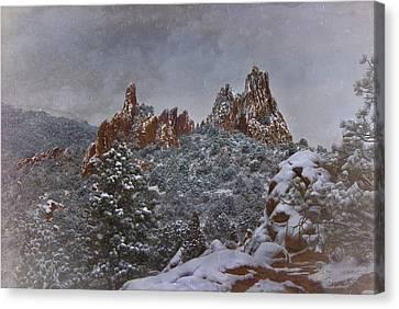 Canvas Print featuring the photograph November Snow - Garden Of The Gods by Ellen Heaverlo