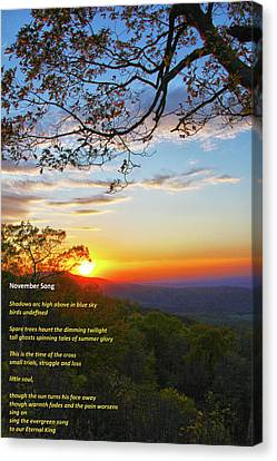 Canvas Print featuring the photograph November Song by Mitch Cat