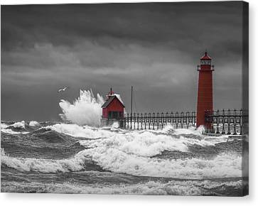 November Storm  With Flying Gull By The Grand Haven Lighthouse Canvas Print by Randall Nyhof