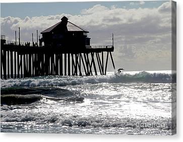 Canvas Print - November Surfer Huntington Beach California by Linda Queally