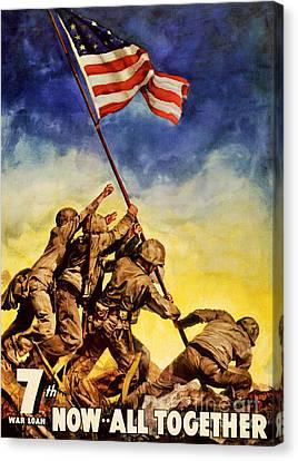 Now All Together Vintage War Poster Restored Canvas Print