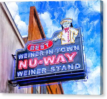 Dog Canvas Print - Nu-way Weiners - Landmark Macon Georgia by Mark Tisdale