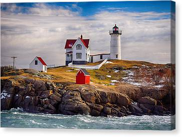Nubble In Winter Canvas Print by Tricia Marchlik