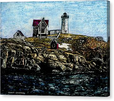 Nubble Light - York Maine Canvas Print by Robert Goudreau