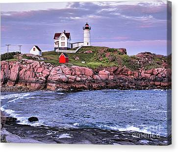 Nubble Light At Dusk Canvas Print by Bill Dussault