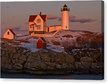 Nubble Light At Sunset Canvas Print by Paul Mangold