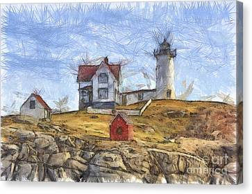 Nubble Light Cape Neddick Lighthouse Sohier Park York Maine Pencil Canvas Print by Edward Fielding