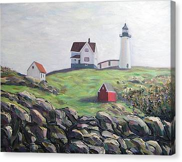Nubble Light House Canvas Print by Richard Nowak