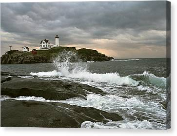 Nubble Light In A Storm Canvas Print