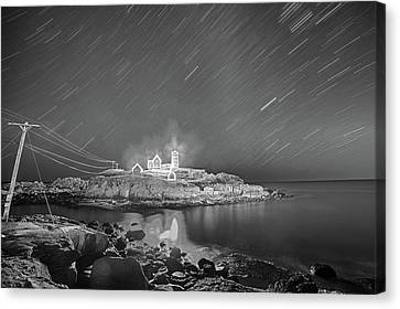 Nubble Light In York Me Hurtling Through Space Cape Neddick Black And White Canvas Print by Toby McGuire