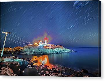 Nubble Light In York Me Hurtling Through Space Cape Neddick Canvas Print by Toby McGuire