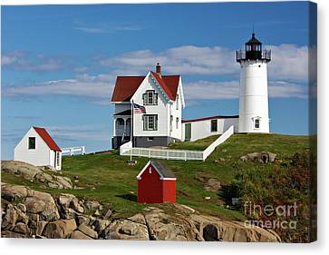 Nubble Lighthouse - D002365 Canvas Print by Daniel Dempster