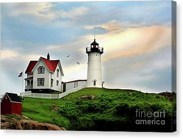 Canvas Print featuring the photograph Nubble Lighthouse by Adrian LaRoque