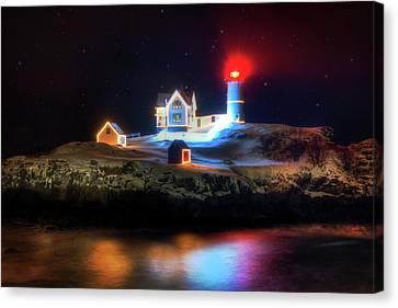 Nubble Lighthouse At Night - Cape Neddick Maine Canvas Print by Joann Vitali