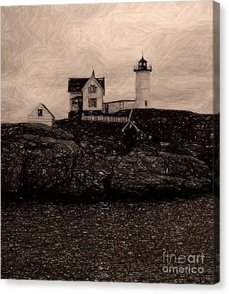 Nubble Lighthouse Canvas Print by Donna Cavanaugh