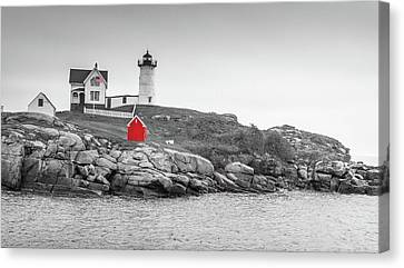 Nubble Lighthouse In Color And Black And White Canvas Print