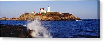 Nubble Lighthouse In Daylight Canvas Print by Jeremy Woodhouse