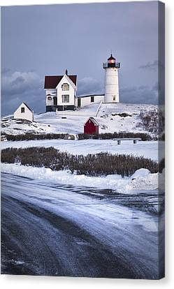 Nubble Lighthouse In The Snow Canvas Print