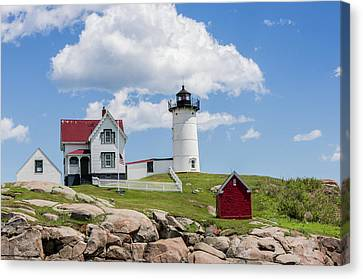 Nubble Lighthouse Canvas Print by Laura Bode