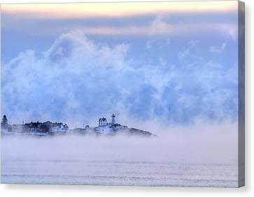 Nubble Lighthouse Sunrise With Sea Smoke - York, Maine Canvas Print by Joann Vitali
