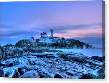 Nubble Lighthouse Sunrise - York, Maine Canvas Print by Joann Vitali