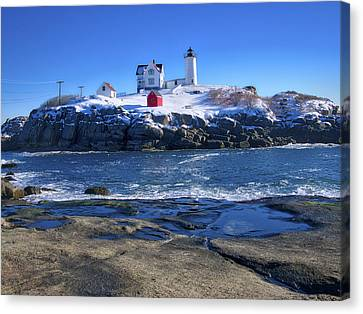 Nubble Lighthouse -winter 2015 Canvas Print by Steven Ralser