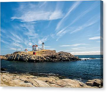 Nubble Lighthouse With Dramatic Clouds Canvas Print