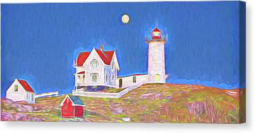 Red Roof Canvas Print - Nubble Lighthouse With Moon by David Smith