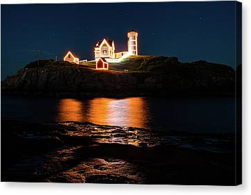 Canvas Print featuring the photograph nubble Lighthouse, York Maine by Jeff Folger