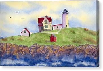 Nubble Lighthouse York Maine  Canvas Print by Roseann Meserve