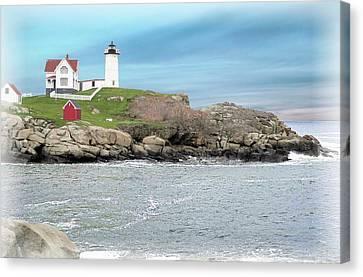 Nubble Lighthouse Canvas Print - Nubble Lighthouse York Maine by Rusty Smith