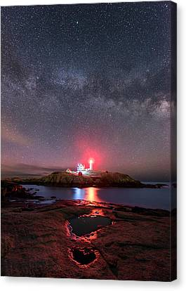 Nubble Night - Vertical Canvas Print by Michael Blanchette
