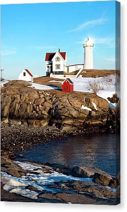 Nubble Lighthouse Canvas Print - Nubble Sun Burst by Greg Fortier
