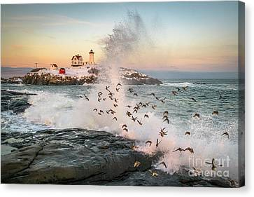 Nubble Wave With Sandpipers Canvas Print by Benjamin Williamson